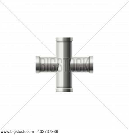 Four Cross Pipes Connector In Realistic Vector Illustration Isolated