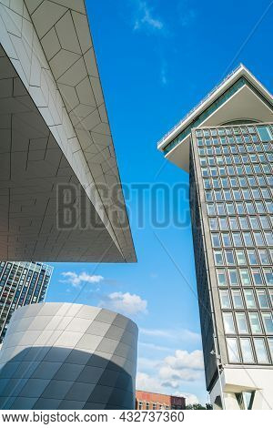 Amsterdam Holland - August 19 2017; Exteriors Of Four Ultra-modern Buildings From Low Point Of View