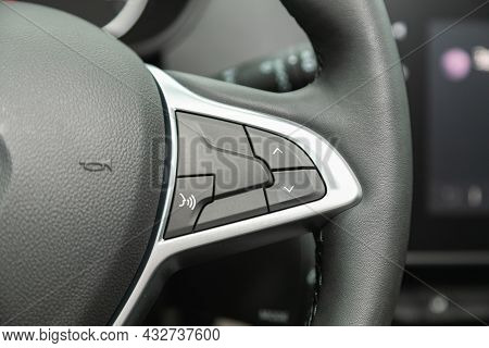 Novosibirsk, Russia - August 19, 2021:  Renault Duster, Black Steering Wheel With Multifunction Butt