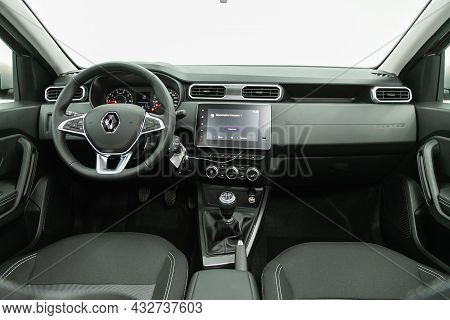 Novosibirsk, Russia - August 19, 2021:  Renault Duster, Steering Wheel, Shift Lever And Dashboard, C