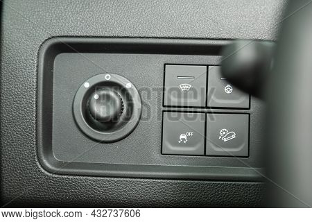 Novosibirsk, Russia - August 19, 2021:  Renault Duster, Close Up Shot Of Modern Central Console With