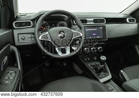 Novosibirsk, Russia - August 19, 2021:  Renault Duster, Car Interior View With Dashboard, Multifunct