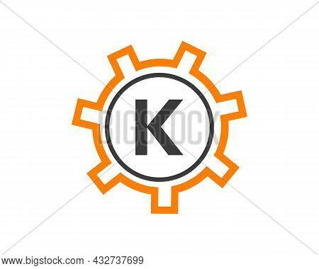 Gear Logo On Letter K. Initial K Gear Letter Logo Design Template. K Gear Engineer Logo