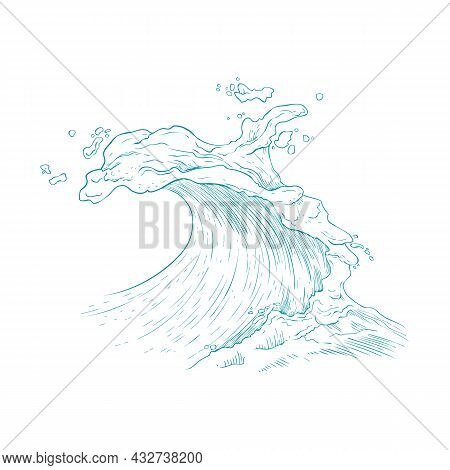 Hand Drawn Image Of Giant Sea Wave In Blue Line, Vector Illustration Isolated.