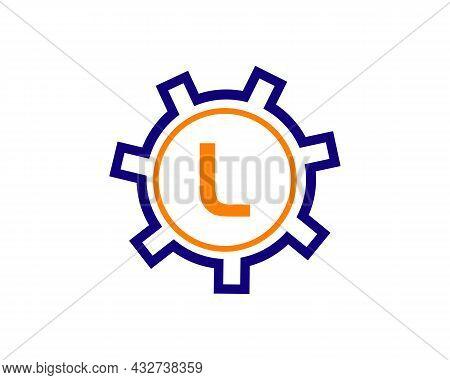 Gear Logo On Letter L. Initial L Gear Letter Logo Design Template. L Gear Engineer Logo