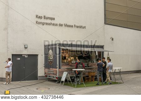 Frankfurt Am Main, Germany-august 23, 2021: Food Truck With Customers In Front Of The Exhibition Cen