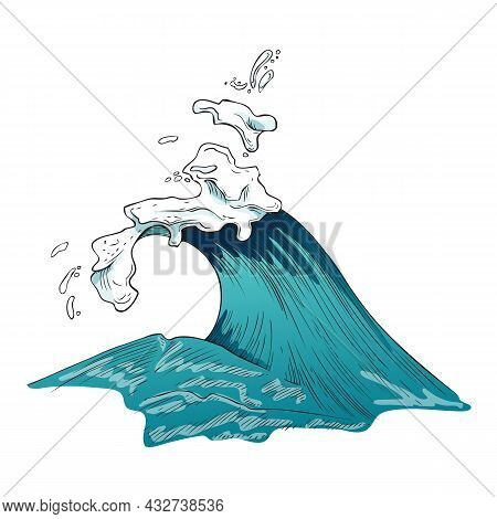 Huge Blue Stormy Sea Wave, Engraving Etched Vector Illustration Isolated.