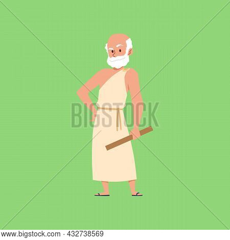 Ancient Greek Philosopher Character In Toga, Flat Vector Illustration Isolated.