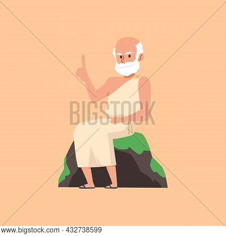 Greek Or Roman Scientist, Philosopher Or Mathematician In Toga And Sandals.