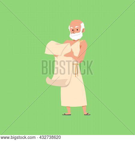 Greek Philosopher Reading Ancient Manuscript Flat Vector Illustration Isolated.