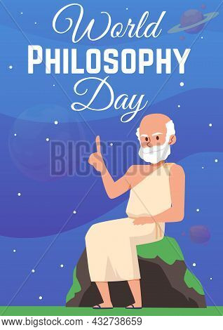 Poster For World Philosophy Day With Antique Greek Or Roman Scientist Philosopher