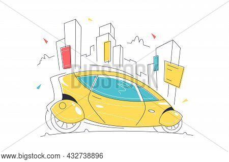 Futuristic Self Driving Smart Car Vector Illustration. Driverless Vehicle Linear. Transport Of Futur