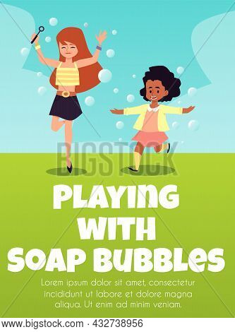 Banner Or Poster With Girls Blowing Soap Bubbles, Flat Vector Illustration.