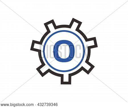 Gear Logo On Letter O. Initial O Gear Letter Logo Design Template. O Gear Engineer Logo