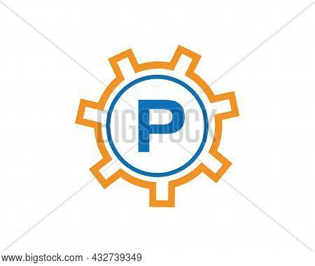 Initial P Gear Letter Logo Design Template. P Gear Engineer Logo. Gear Logo On Letter P