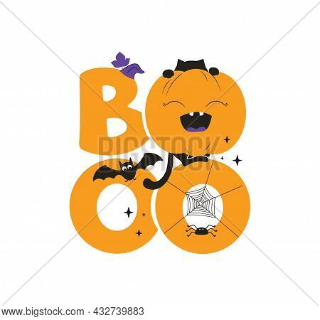 This Is A Halloween Phrase, Boo. The Autumn Quote With Cat, Pumpkin, Bat And Spider Is Good For Holi