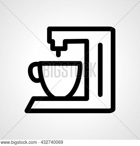 Coffee Maker Vector Line Icon. Coffee Maker Linear Outline Icon.
