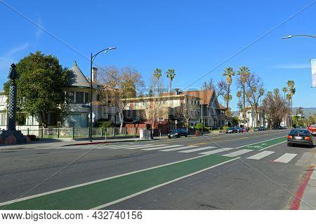 San Jose, Ca, Usa - Mar. 10, 2014: Historic Buildings On E San Fernando Street At S 5th Street In Hi