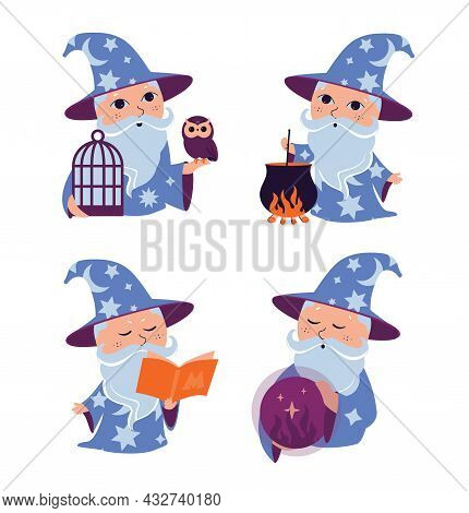 The Set Of Cartoon Wizard. The Collection Magic Characters Are Good For Happy Halloween Day Designs,