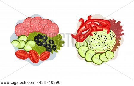 Sliced And Cut Wurst And Vegetables Served On Plate Above View Vector Set