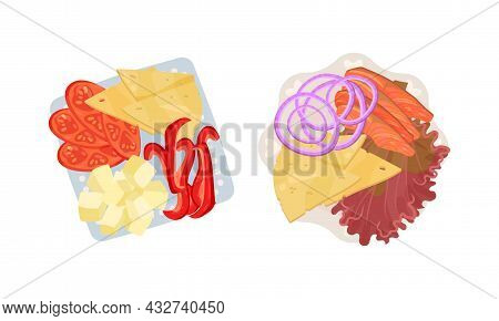 Sliced And Cut Salmon And Vegetables Served On Plate Above View Vector Set