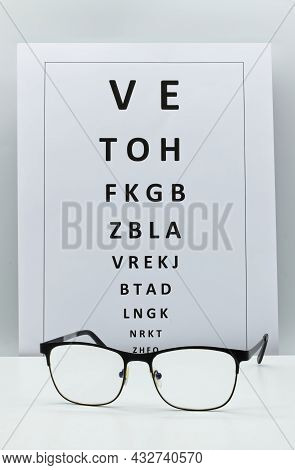 Checking Vision Table With A Pair Of Glasses. Ophthalmologist Accessories Isolated On White Backgrou
