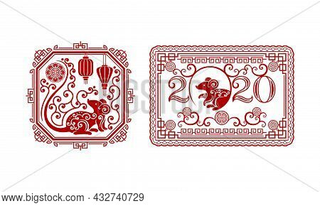 Chinese New Year Symbol Design With Rat Zodiac Sign Vector Set