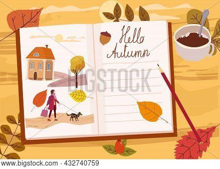 Girls Autumn Diary, Autumn Yellow, Orange Leaves, Branch, Mug Of Coffee, Illustrations. Fall, Cozy M
