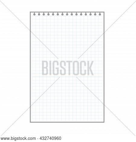 Blank Checkered Plaid Sheet, Notepad Page With Ring Holes.