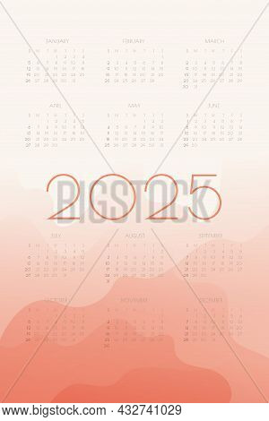 2025 Calendar With Coral Gradient Fluid Wave Shapes. Vertical Annual Template For Print And Digital.