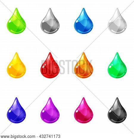 Set Drops Shiny Glossy Colorful Game Asset. Aqua, Jelly, Crystal, Glass Drip, Bubbles Shot Elements.