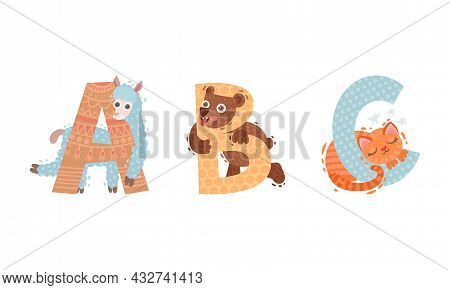 Animal Alphabet Capital Letter With Bear And Alpaca Vector Set