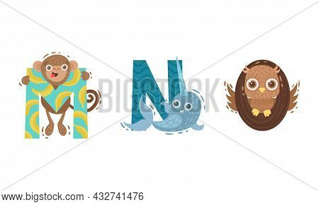 Animal Alphabet Capital Letter With Monkey And Narwal Vector Set