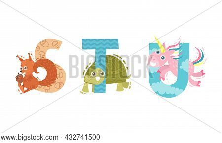 Animal Alphabet Capital Letter With Squirrel And Turtle Vector Set