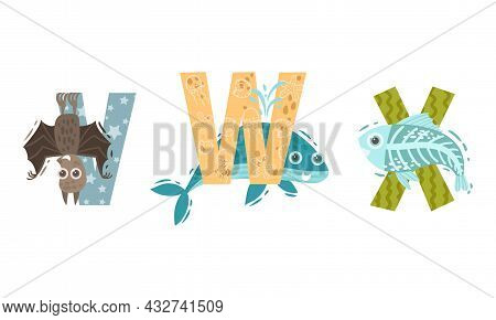 Animal Alphabet Capital Letter With Vampire Bat And Whale Vector Set