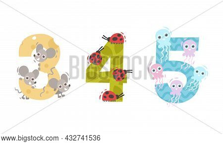 Animal Number And Numeral With Mouse And Ladybug Vector Set
