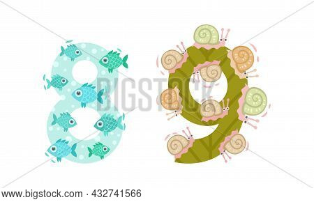 Animal Number And Numeral With Fish And Snail Vector Set