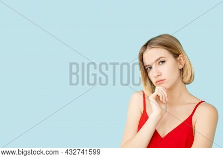 Hesitating Woman. Ambivalence Decision. Puzzled Situation. Advertising Background. Doubtful Lady Han