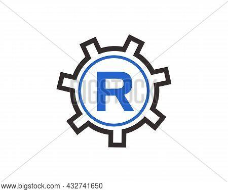 Initial R Gear Letter Logo Design Template. R Gear Engineer Logo. Gear Logo On Letter R