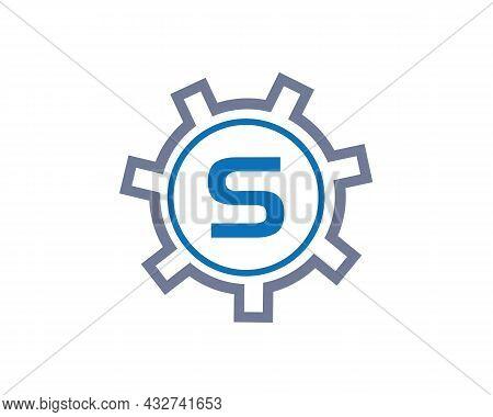 Gear Logo On Letter S. Initial S Gear Letter Logo Design Template. S Gear Engineer Logo