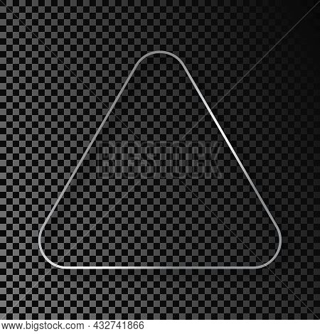 Silver Glowing Rounded Triangle Frame With Shadow Isolated On Dark Transparent Background. Shiny Fra