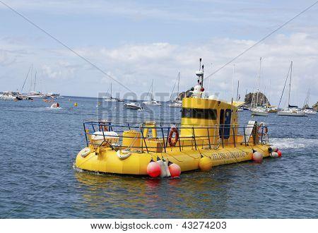 Yellow submarine in Gustavia marina, St. Barths