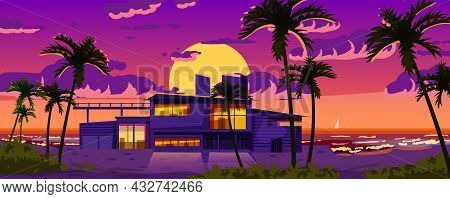 Tropical Resort Luxury Villa For Rest, Vacation. Modern Architecture With Exotic Palms, Sea, Ocean,