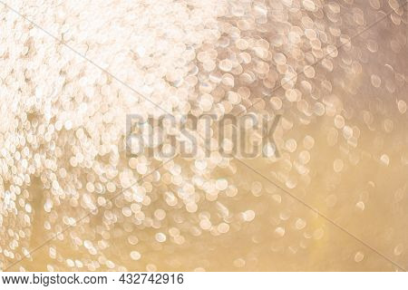 Creative Background Image. Light Transparent Drops Of Water In Blur. Blurred Bokeh On Light Backgrou