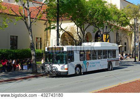 San Jose, Ca, Usa - Mar. 12, 2014: Santa Clara Valley Transportation Authority Vta Hybrid Bus Route