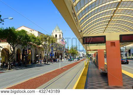 San Jose, Ca, Usa - Mar. 12, 2014: Platform Of Convention Center Station For Santa Clara Valley Tran