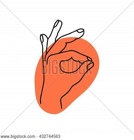 Mudra - Vayu. Hands Vector Illustration. Yogic Hand Gesture. Black And White Linear Style.