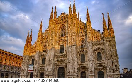 Italy, Milan, December, 2016 - Duomo Di Milano Massive Gothic Cathedral On Sunset In Milan, Region O