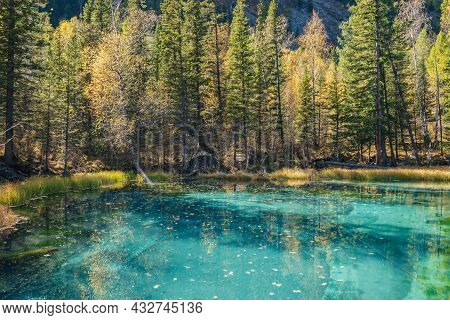 Colorful Autumn Landscape With Clear Mountain Lake In Forest Among Yellow Trees In Sunshine. Bright