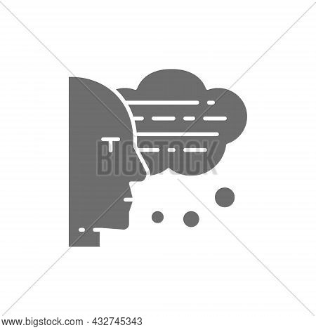 Man With Speech Bubbles, Thoughts, Conversation, Voice Recognition Grey Icon.
